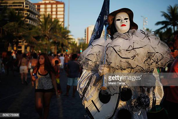 A reveler poses during Carnival celebrations at the Banda de Ipanema 'bloco' or street parade on February 9 2016 in Rio de Janeiro Brazil Festivities...