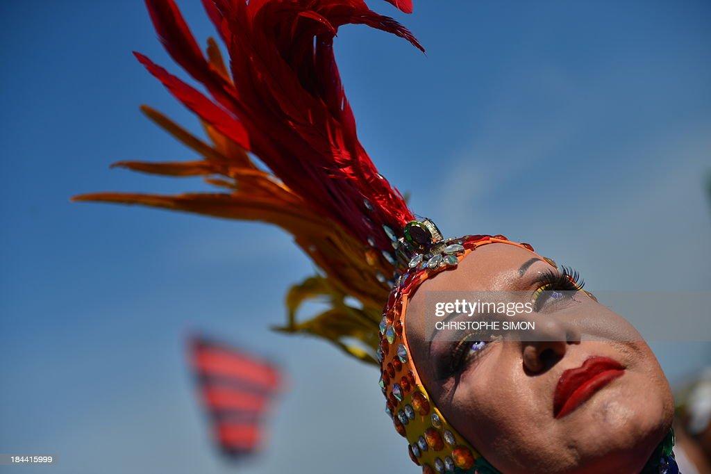 A reveler takes part in the gay pride parade at Copacabana beach in Rio de Janeiro, Brazil on October 13, 2013. AFP PHOTO / CHRISTOPHE SIMON