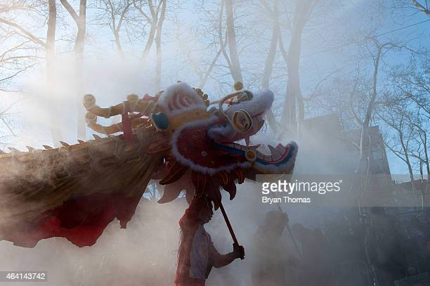 Revelers do a Lion Dance in the Chinese New Year parade in Manhattan's Chinatown on February 22 2015 in New York City The parade now in it's 16th...