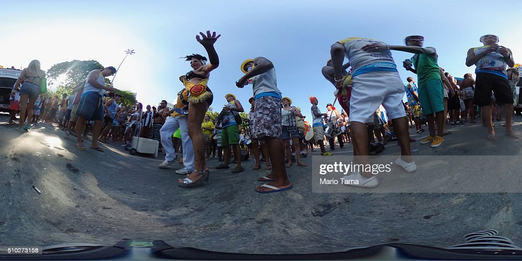 Revelers gather for a post-Carnival 'bloco', or street parade, on February 14, 2016 in Rio de Janeiro, Brazil. Post-Carnival celebrations continued through the weekend in Brazil in spite of fears over the Zika virus.