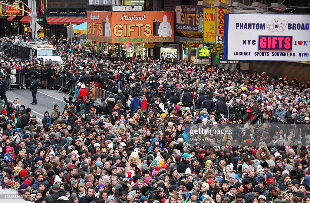 Revelers gather in Times Square to celebrate New Year's Eve on December 31, 2012 in New York City. Approximately one million people are expected to ring in the new year in Times Square.
