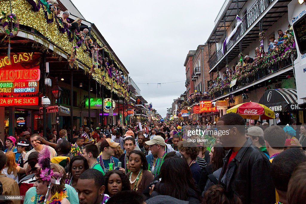 Revelers gather to celebrate on Bourbon Street in the French Quarter during the 2011 Mardi Gras Fat Tuesday Celebrations on March 8 2011 in New...