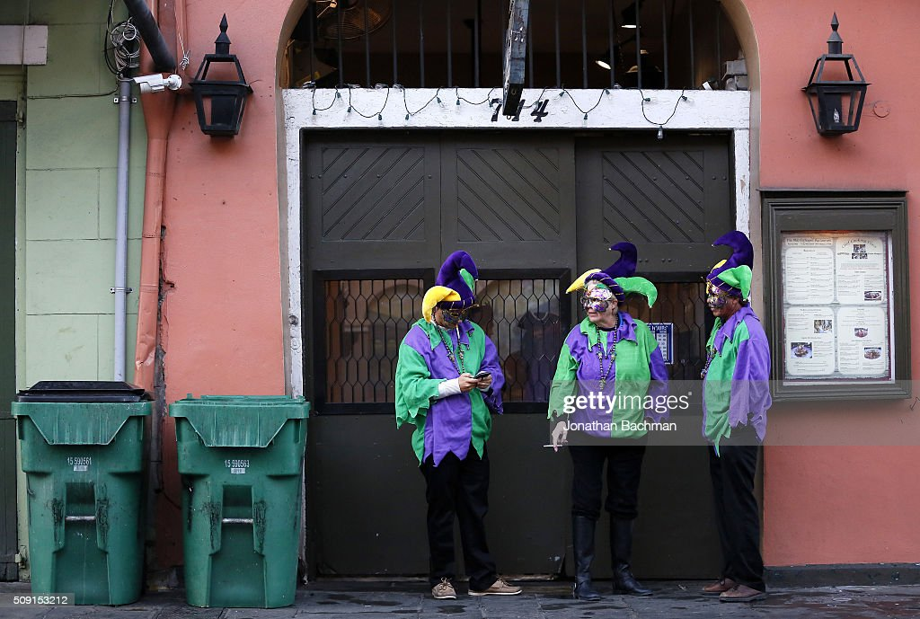 Revelers makes their way through the French Quarter during Mardi Gras day on February 9, 2016 in New Orleans, Louisiana. Fat Tuesday, or Mardi Gras in French, is a celebration traditionally held before the observance of Ash Wednesday and the beginning of the Christian Lenten season.
