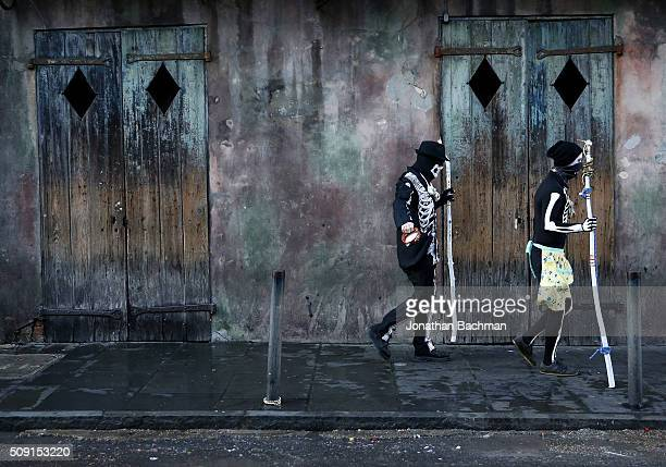 Revelers makes their way through the French Quarter during Mardi Gras day on February 9 2016 in New Orleans Louisiana Fat Tuesday or Mardi Gras in...
