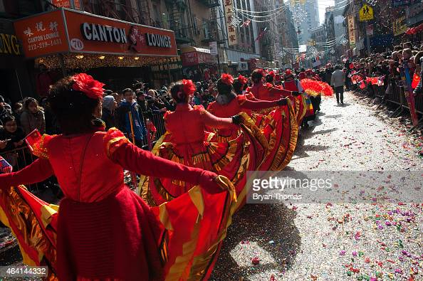 Revelers march in the Chinese New Year parade in Manhattan's Chinatown on February 22 2015 in New York City The parade now in it's 16th year brought...