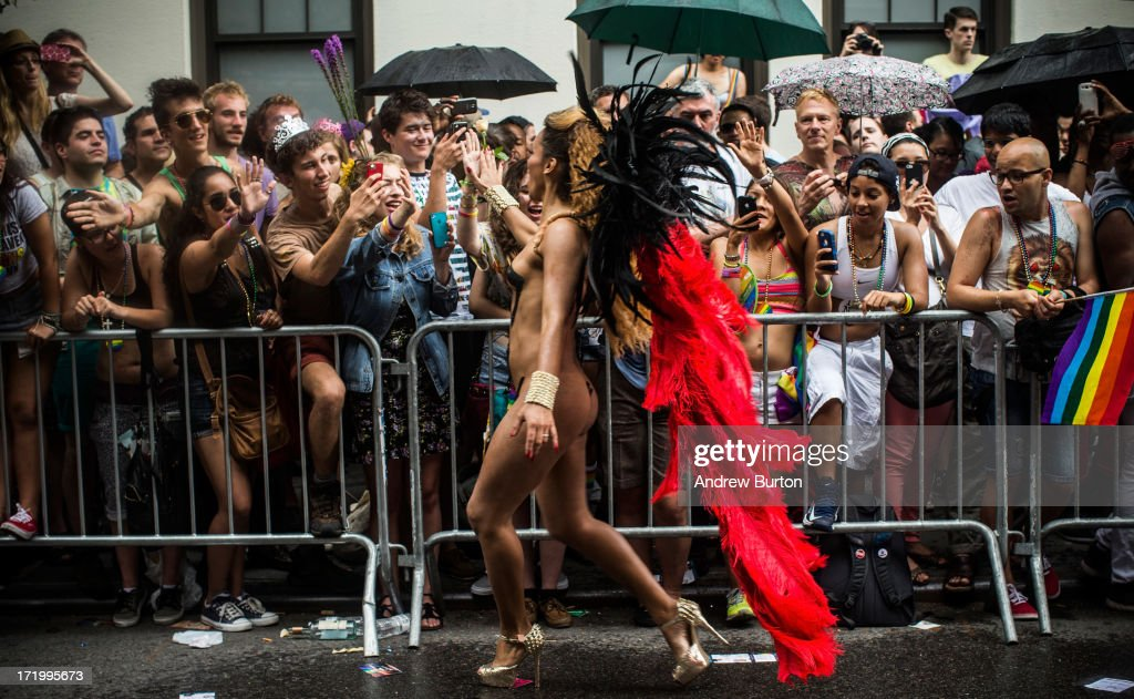 Revelers march in the New York Gay Pride Parade on June 30, 2013 in New York City. This year's parade was a particularly festive occasion, due to the recent Supreme Court Ruling that it was unconstitutional to ban gay marriage.