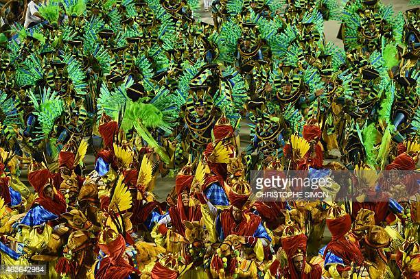 Revelers of the Imperatriz samba school perform during the second day of carnival parade in the Sambodrome in Rio de Janeiro Brazil on February 17...