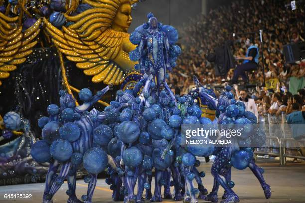 Revelers of the Imperio da Casa Verde samba school perform during the second night of carnival parade at the Sambadrome in Sao Paulo Brazil early on...