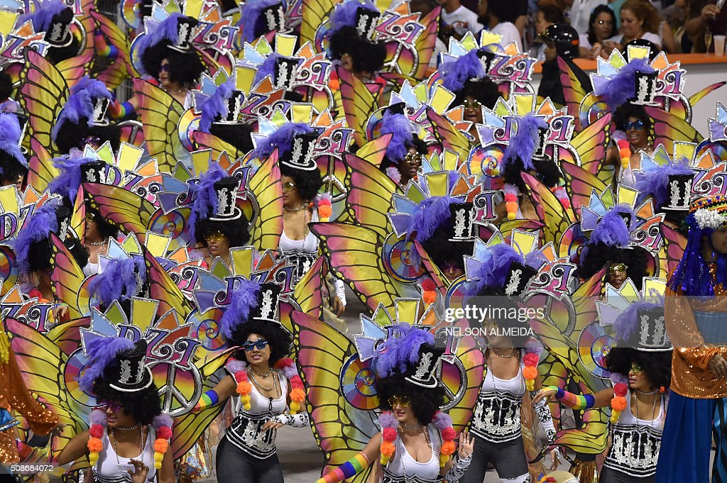 Revelers of the Nene de Vila Matilde samba school perform during the first night of the carnival parade at the Sambadrome in Sao Paulo, Brazil, on February 6, 2016.