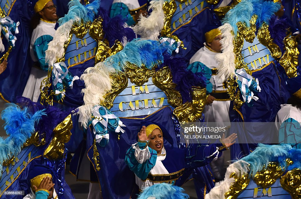 Revelers of the Nene de Vila Matilde samba school perform during the first night of the carnival parade at the Sambadrome in Sao Paulo, Brazil, on February 6, 2016. AFP PHOTO/NELSON ALMEIDA / AFP / NELSON ALMEIDA