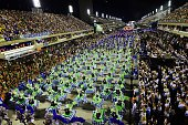 Revelers of the Portela samba school perform during the second night of carnival parade at the Sambodrome in Rio de Janeiro Brazil on February 16...