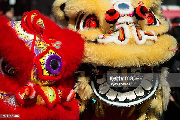 Revelers participate in the Chinese New Year parade in Manhattan's Chinatown on February 22 2015 in New York City The parade now in it's 16th year...