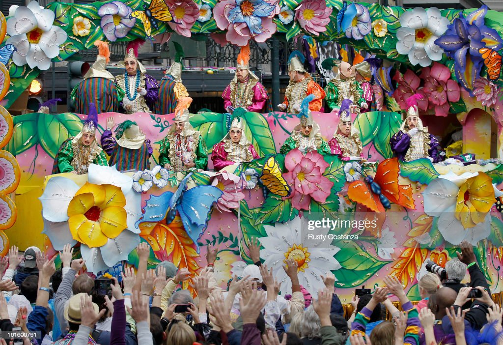 Revelers plead with out stretched arms for throws from riders in the Rex Parade in Canal Street on Mardi Gras Day. Fat Tuesday, the traditional celebration on the day before Ash Wednesday and the begining of Lent, is marked in New Orleans with parades and marches through many neighborhoods in the city.