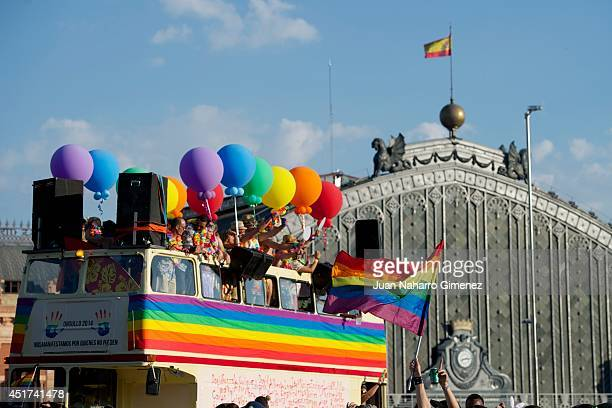 revelers take part in the Gay Pride Parade in Madrid on July 5 2014 in Madrid Spain State Protest LGBT Pride 2014 this year has the theme 'Nos...