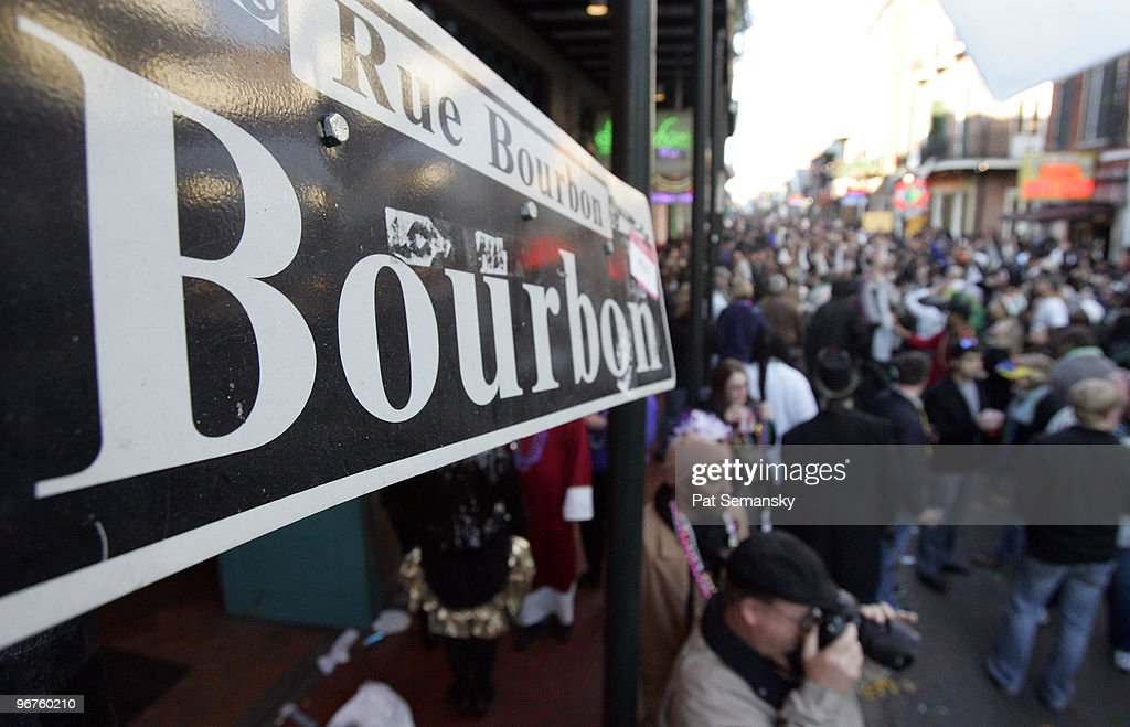 Revelers walk along Bourbon Street in the French Quarter during Mardi Gras day on February 16, 2010 in New Orleans, Louisiana. The annual Mardi Gras celebration ends at midnight, when the Catholic Lenten season begins on Ash Wednesday and ends on Easter Sunday.