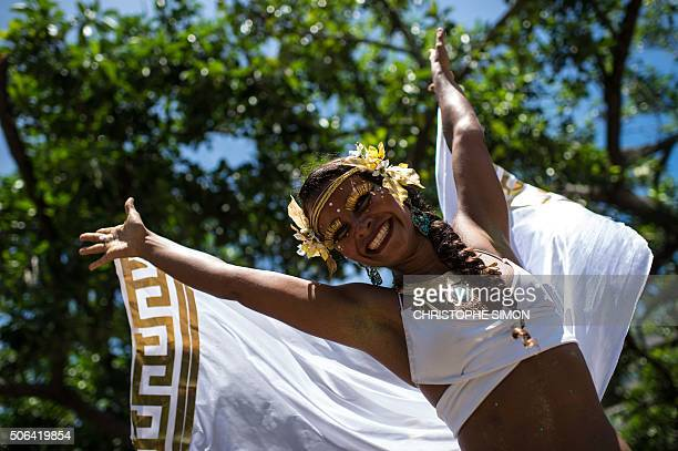 Revelers wearing Greek style costumes participate in the first carnival ''Bloco'' under the theme ''Rio The Olympics are here'' on the streets of Rio...