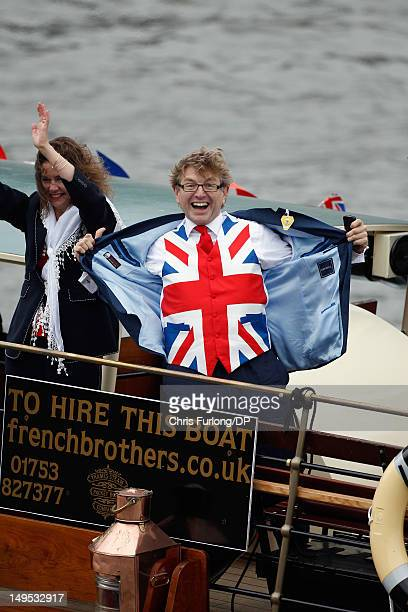 A reveller displays his Union Flag waistcoat during the Thames Diamond Jubilee River Pageant on June 3 2012 in London England For only the second...