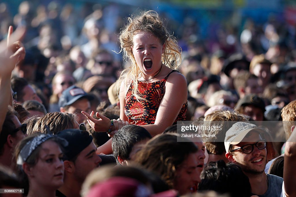 A reveller enjoys the performance by Violent Soho at St Jerome's Laneway Festival on February 7, 2016 in Sydney, Australia.
