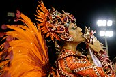 A reveller of Salgueiro Samba School 2nd in the 2015 Rio's Carnival takes part in the Champions' Parade at the Sambadrome in Rio Brazil on February...