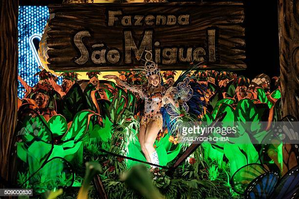 A reveller of Unidos da Tijuca samba school performs during the first night of the carnival parade at Sambadrome in Rio de Janeiro Brazil on February...