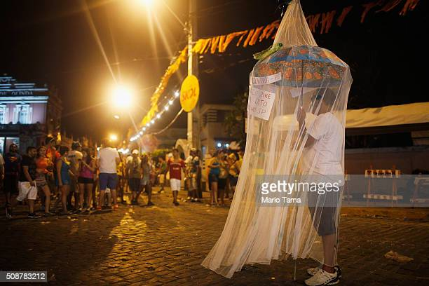 A reveller stands beneath a mosquito net as a satirical costume during Carnival celebrations on February 6 2016 in Olinda Pernambuco state Brazil...