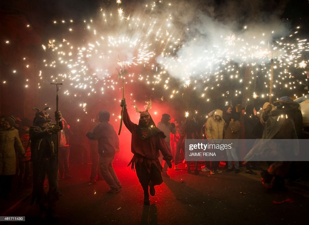 A reveller wearing a demon costume takes part in the traditional festival of 'Correfoc' in Palma de Mallorca on January 17 2015 The Correfoc is a...
