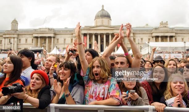 Revellers at Pride in London in Trafalgar Square in central London