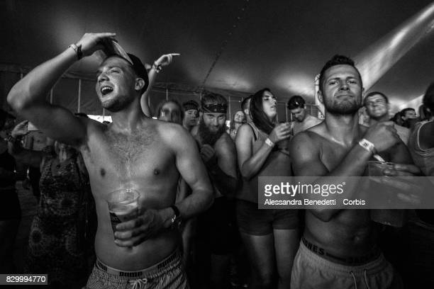 Revellers attend the 25th edition of the Sziget Festival on August 10 2017 in Budapest Hungary The Sziget Festival one of the largest music and...