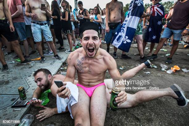 Revellers attend the 25th edition of the Sziget Festival on August 9 2017 in Budapest Hungary The Sziget Festival one of the largest music and...