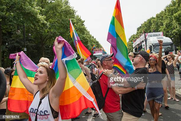 Revellers attend the Christopher Street Day parade in Berlin Germany on July 23 2016 Motto of the annual parade one of the biggest in Europe is...