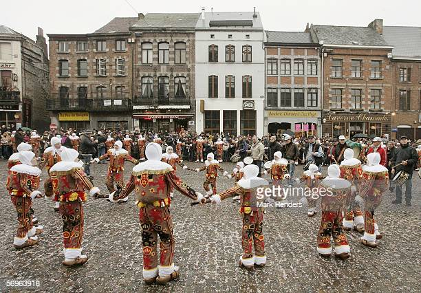 Revellers celebrate the Binche Mardi Gras which has been recently granted World Heritage status by UNESCO on February 28 2006 in Binche Belgium