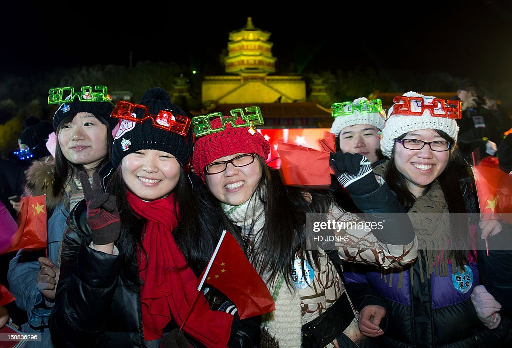 Revellers celebrate the new year following a count-down event at the Summer Palace in Beijing on January 1, 2013. AFP PHOTO / Ed Jones