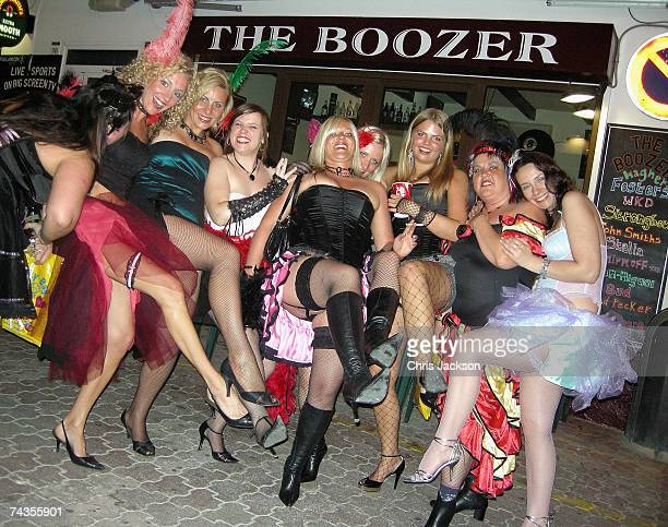 Revellers enjoy a hen night on the streets of San Antonio on May 29 2007 in Ibiza Spain Ibiza remains one of the world's top holiday destinations for...
