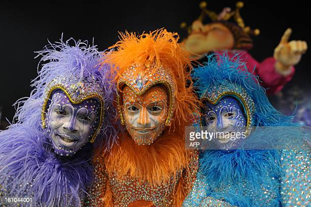 Revellers from Rosas de Ouro samba school perform during the first night of carnival parade at the Sambadrome in Sao PauloBrazil on February 9 2013...