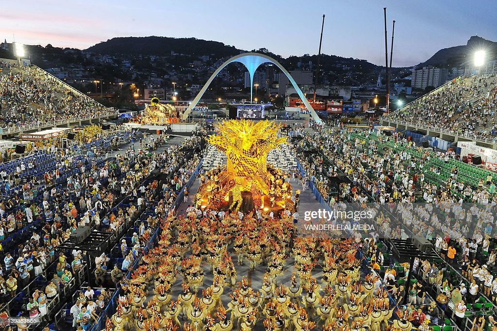 Revellers from the Vila Isabel samba school perform during the first night of Carnival at the Sambadrome in Rio de Janeiro on February 20 2012 The...