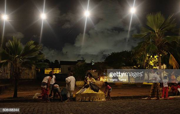 Revellers gather after participating in a traditional preCarnival 'bloco' on February 4 2016 in Olinda Pernambuco state Brazil Officials say as many...