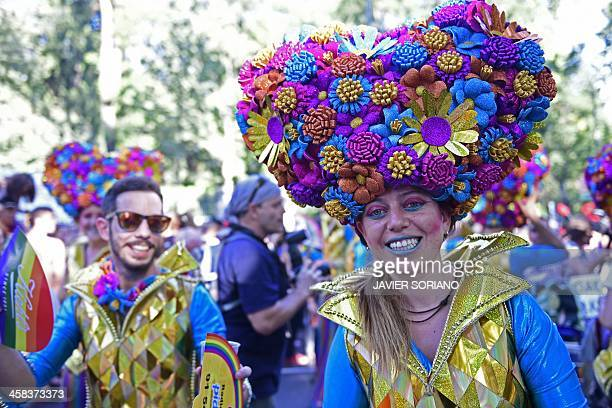 A revellers in fancy dress takes part in the Gay Pride Parade in Madrid on July 2 2016 / AFP / JAVIER SORIANO
