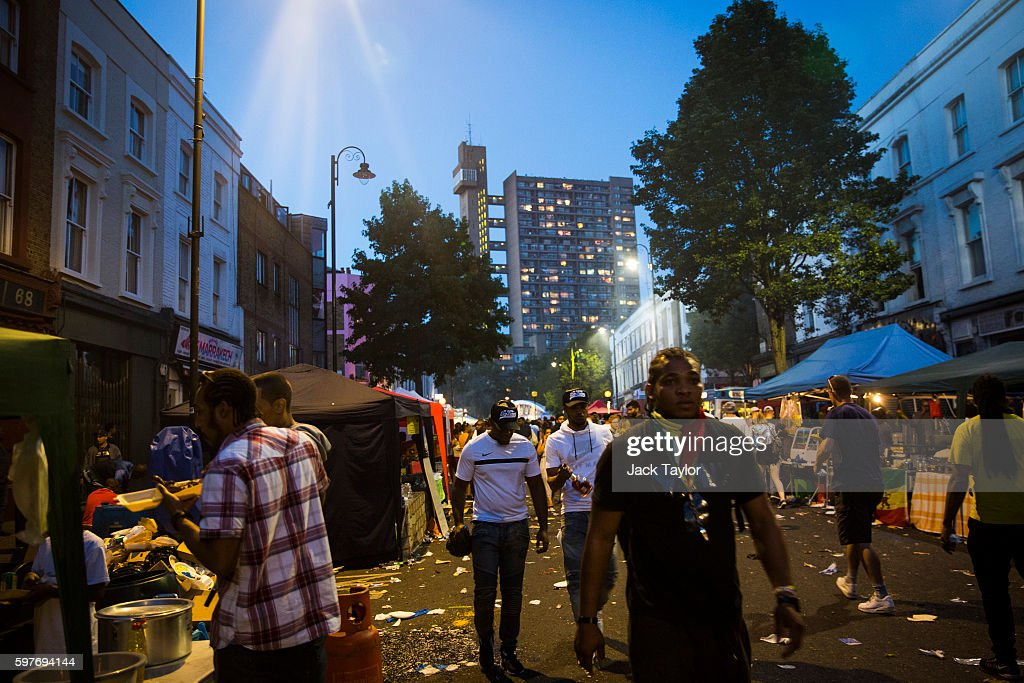 Revellers leave Notting Hill Carnival on August 29 2016 in London England The Notting Hill Carnival which has taken place annually since 1964 is...