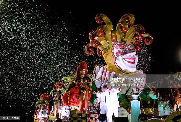 Revellers of Grande Rio Samba School 3rd in the 2015 Rio's Carnival perform during the Champions' Parade at the Sambadrome in Rio Brazil on February...