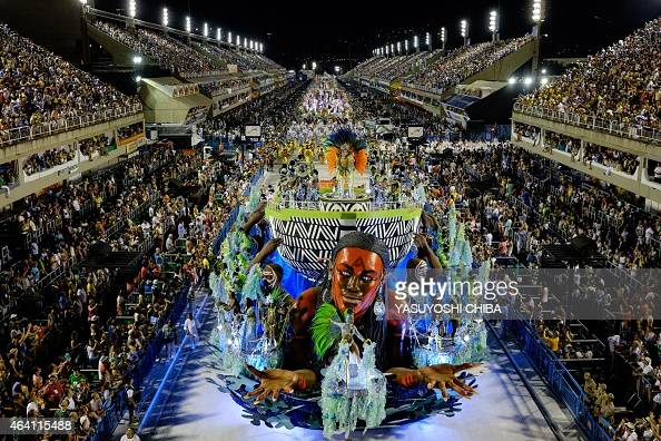 Revellers of Imperatriz Samba School 6th in the 2015 Rio's Carnival perform during the Champions' Parade at the Sambadrome in Rio Brazil on February...