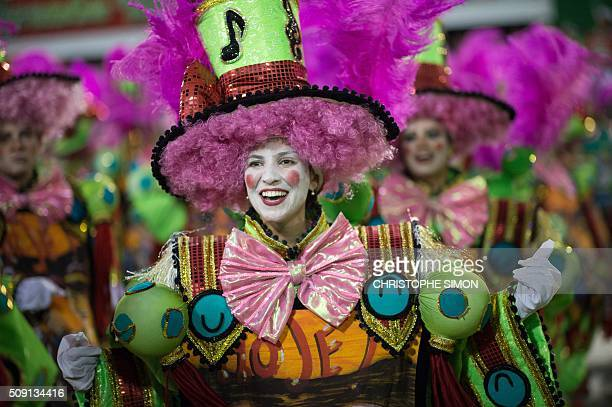 Revellers of Imperatriz samba school perform during the second night of the carnival parade at the Sambadrome in Rio de Janeiro Brazil on february 09...