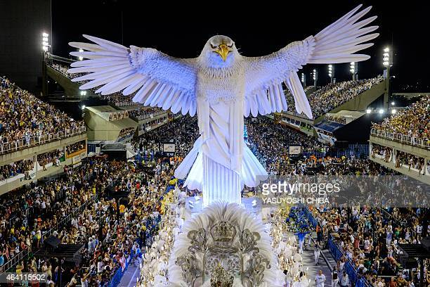 Revellers of Portela Samba School 5th in the 2015 Rio's Carnival perform during the Champions' Parade at the Sambadrome in Rio Brazil on February 21...