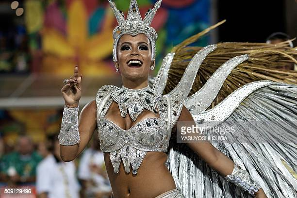 Revellers of Sao Clemente samba school perform during the second night of the carnival parade at Sambadrome in Rio de Janeiro Brazil on February 9...