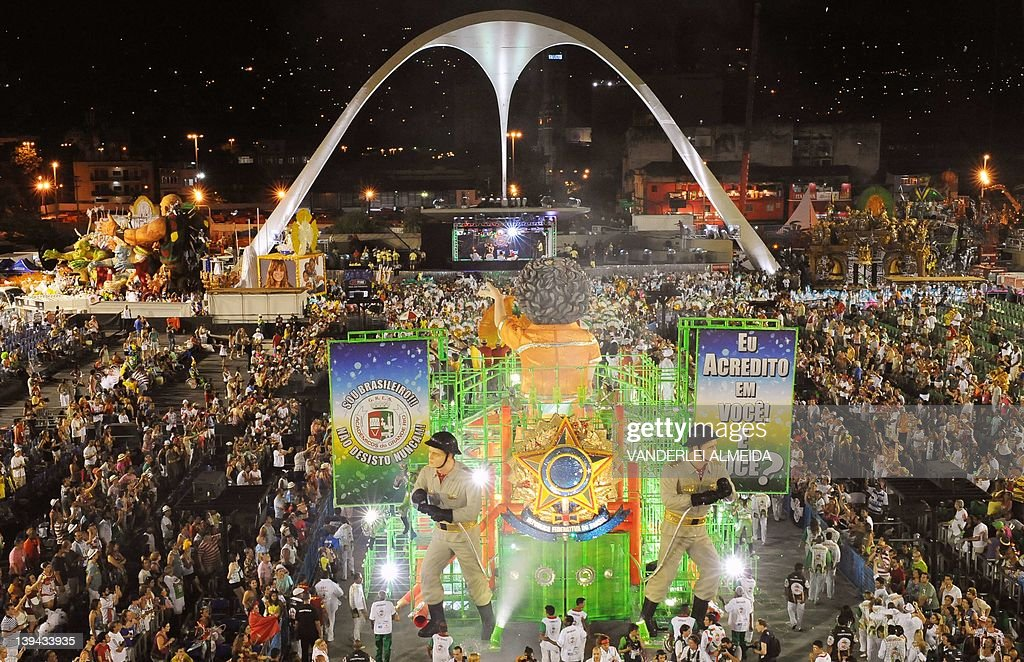 Revellers of the Academicos do Grande Rio samba school perform during the second night of Carnival at the Sambadrome in Rio de Janeiro on February 21...