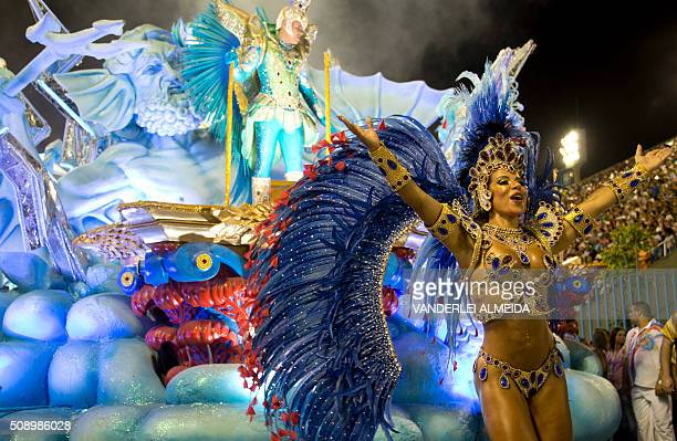 Revellers of Uniao da Ilha do Governador samba school perform during the first night of the carnival parade at Sambadrome in Rio de Janeiro Brazil on...