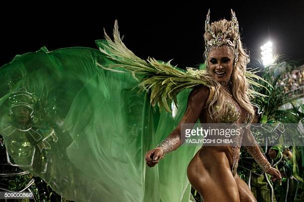 Revellers of Unidos da Tijuca samba school perform during the first night of the carnival parade at Sambadrome in Rio de Janeiro Brazil on February 8...