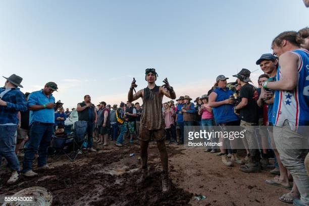 Revellers on the wild final evening at the 2017 Deni Ute Muster on September 30 2017 in Deniliquin Australia The annual Deniliquin Ute Muster is the...