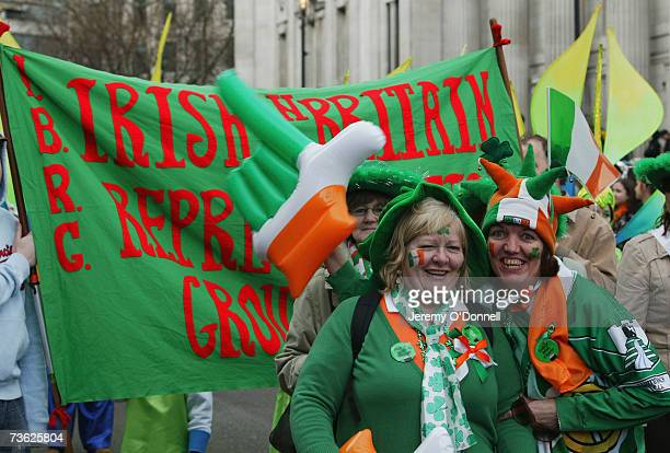 Revellers parade on St Patricks Day towards Trafalgar Square on March 18 2007 in London England Thousands of people gathered in the capital to...