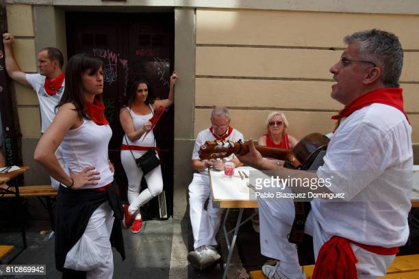Revellers play music in the street during the third day of the San Fermin Running of the Bulls festival on July 8 2017 in Pamplona Spain The annual...
