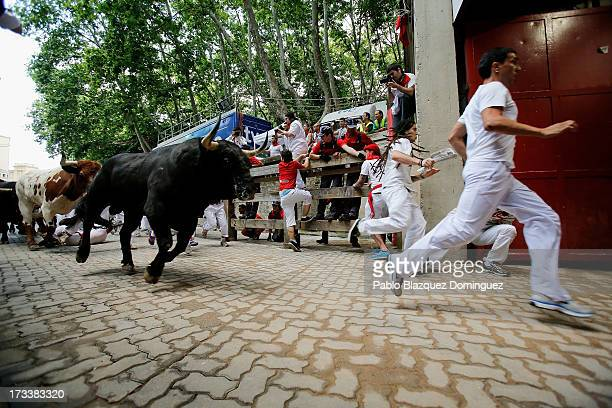 Revellers run with Fuente Ymbro's fighting bulls entering the bullring during the eighth day of the San Fermin Running Of The Bulls festival on July...